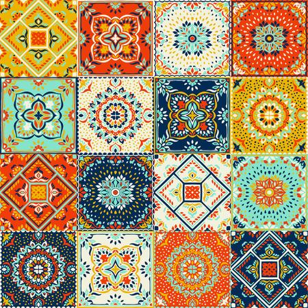 Talavera pattern.  Indian patchwork. Azulejos portugal. Turkish ornament. Moroccan tile mosaic. Ceramic tableware, folk print. Spanish pottery. Ethnic background. Mediterranean seamless  wallpaper. Banco de Imagens - 105202709