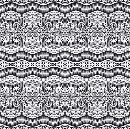 Tribal vector ornament. Seamless African pattern. Ethnic carpet with chevrons and strips. Aztec style. Geometric striped pattern. Ancient interior. Modern rug. Geo print on textile. Vintage fabric. Illustration