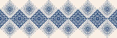 Ikat geometrische Folkloreverzierung. Ethnische Stammesvektorbeschaffenheit. Nahtloses Streifenmuster im aztekischen Stil. Figur Stammesstickerei. Indisch, Skandinavisch, Zigeuner, Mexikaner, Volksmuster. Vektorgrafik