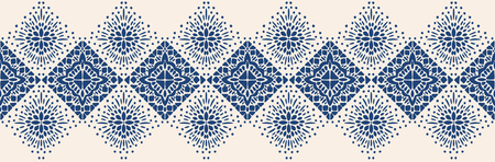 Ornamento folcloristico geometrico Ikat. Struttura etnica tribale di vettore. Motivo a strisce senza soluzione di continuità in stile azteco. Figura ricamo tribale. Modello indiano, scandinavo, zingaro, messicano, folk. Vettoriali