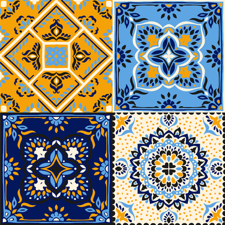 Talavera pattern.  Indian patchwork. Azulejos portugal. Turkish ornament. Moroccan tile mosaic. Ceramic tableware, folk print. Spanish pottery. Ethnic background. Mediterranean seamless  wallpaper.  イラスト・ベクター素材