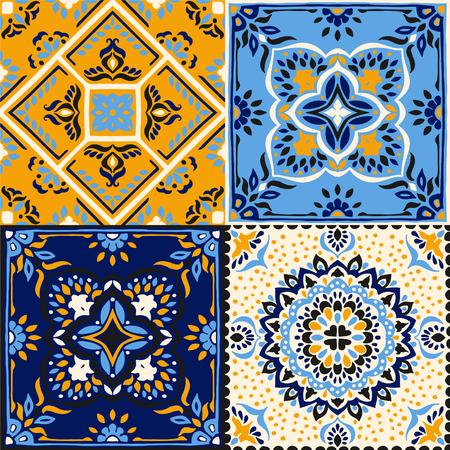 Talavera pattern.  Indian patchwork. Azulejos portugal. Turkish ornament. Moroccan tile mosaic. Ceramic tableware, folk print. Spanish pottery. Ethnic background. Mediterranean seamless  wallpaper. 向量圖像