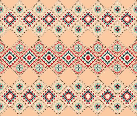 Ornement folklorique géométrique Ikat. Texture de vecteur ethnique tribal. Motif rayé sans couture dans un style aztèque. Figure broderie tribale. Indien, scandinave, gitan, mexicain, motif folklorique. Vecteurs