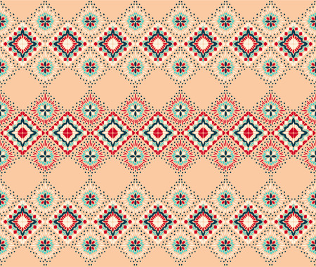 Ikat geometric folklore ornament. Tribal ethnic vector texture. Seamless striped pattern in Aztec style. Figure tribal embroidery. Indian, Scandinavian, Gypsy, Mexican, folk pattern. Illustration