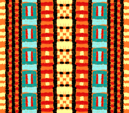 Tribal vector ornament. Seamless African pattern. Ethnic carpet with chevrons. Aztec style. Geometric mosaic on the tile, majolica. Ancient interior. Modern rug. Geo print on textile. Kente Cloth.
