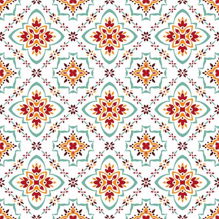 Talavera patroon. Azulejos Portugal. Turks ornament. Marokkaans tegelmozaïek. Spaans porselein. Keramisch serviesgoed, folkloristische print. Spaans aardewerk. Etnische achtergrond. Mediterraan naadloos behang.
