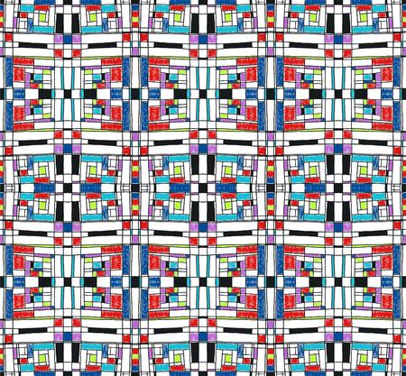 Fondo geométrico en estilo de cuadrícula de Mondrian. Patrón de arte pop. Adorno con cuadrados de mosaico abstracto. Bordado moderno. Impresión étnica africana. Figuras coloridas de Memphis. Vector rayado tradicional