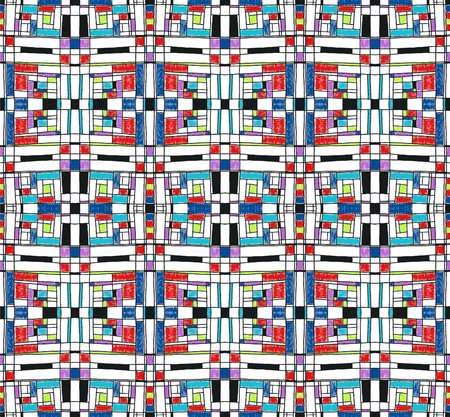 Geometric background in Mondrian grid style.  Pop art pattern. Ornament with abstract mosaic squares. Modern embroidery. Ethnic African print. Colorful figures of Memphis. Traditional striped vector Archivio Fotografico - 106306796
