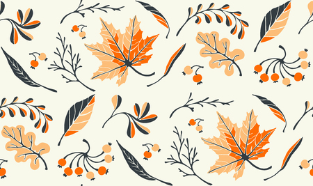 Autumn leaves in cartoon style. Seamless pattern. A cute background. Seasonal banner. September fall. October party. November  sale. Decorative border. Halloween. Maple branch.  Vector illustration.