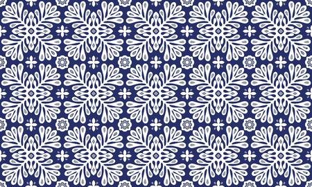 Talavera pattern.  Indian patchwork. Azulejos portugal. Turkish ornament. Moroccan tile mosaic. Ceramic tableware, folk print. Spanish pottery. Ethnic background. Mediterranean seamless  wallpaper. Banco de Imagens - 106791669