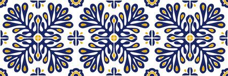 Traditionelle Vektorverzierung im skandinavischen Stil. Stilisierte Blumen und Pflanzen. Marokkanisches Fliesenmosaik. Türkischer Volksdruck. Spanische Keramik. Ethnischer Hintergrund. Mediterrane nahtlose Tapete.