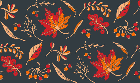 Autumn leaves in cartoon style. Seamless pattern. A cute background. Seasonal banner. September fall. October party. November sale. Decorative border. Halloween. Maple branch. Vector illustration. Vettoriali