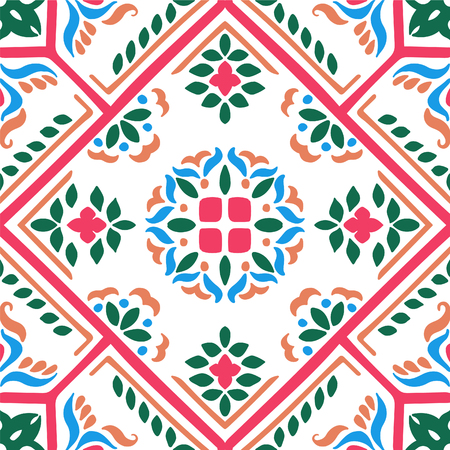 Talavera pattern.  Azulejos portugal. Turkish ornament. Moroccan tile mosaic. Spanish porcelain. Ceramic tableware, folk print. Spanish pottery. Ethnic background. Mediterranean seamless  wallpaper. Banco de Imagens - 106825681