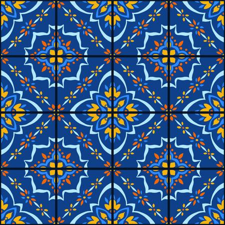 Talavera pattern.  Azulejos portugal. Turkish ornament. Moroccan tile mosaic. Spanish porcelain. Ceramic tableware, folk print. Spanish pottery. Ethnic background. Mediterranean seamless  wallpaper. Banco de Imagens - 106851706