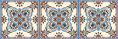 Talavera pattern.  Azulejos portugal. Turkish ornament. Moroccan tile mosaic. Spanish porcelain. Ceramic tableware, folk print. Spanish pottery. Ethnic background. Mediterranean seamless  wallpaper. Banco de Imagens - 106790651