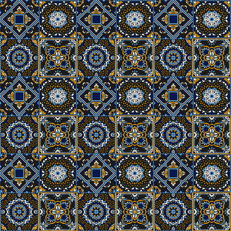 Talavera pattern.  Indian patchwork. Azulejos portugal. Turkish ornament. Moroccan tile mosaic. Ceramic tableware, folk print. Spanish pottery. Ethnic background. Mediterranean seamless  wallpaper. Ilustração