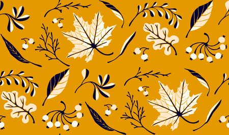 Autumn leaves in cartoon style. Seamless pattern. A cute background. Seasonal banner. September fall. October party. November  sale. Decorative border. Halloween. Maple branch.