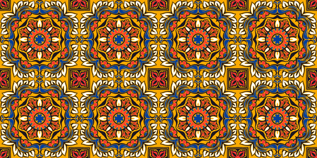Talavera pattern.  Indian patchwork. Azulejos portugal. Turkish ornament. Moroccan tile mosaic. Ceramic tableware, folk print. Spanish pottery. Ethnic background. Mediterranean seamless  wallpaper. Banco de Imagens - 106880290
