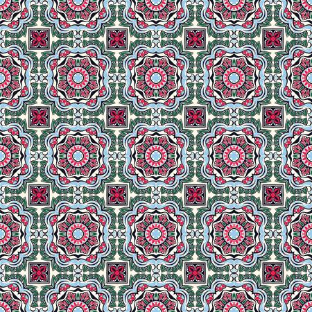 Talavera pattern.  Indian patchwork. Azulejos portugal. Turkish ornament. Moroccan tile mosaic. Ceramic tableware, folk print. Spanish pottery. Ethnic background. Mediterranean seamless  wallpaper. Banco de Imagens - 106878152