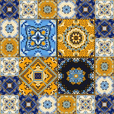 Talavera pattern.  Indian patchwork. Azulejos portugal. Turkish ornament. Moroccan tile mosaic. Ceramic tableware, folk print. Spanish pottery. Ethnic background. Mediterranean seamless  wallpaper. Banco de Imagens - 106872086