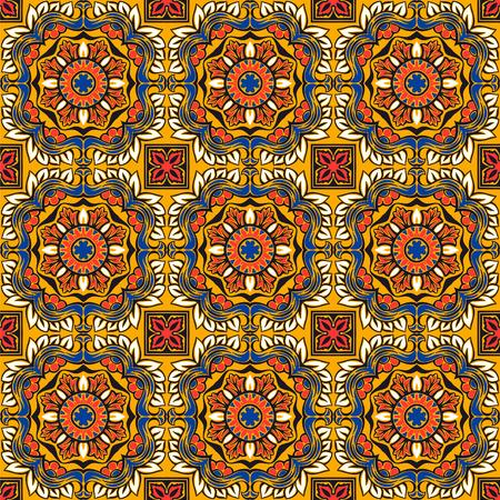 Talavera pattern.  Indian patchwork. Azulejos portugal. Turkish ornament. Moroccan tile mosaic. Ceramic tableware, folk print. Spanish pottery. Ethnic background. Mediterranean seamless  wallpaper. Banco de Imagens - 106880305