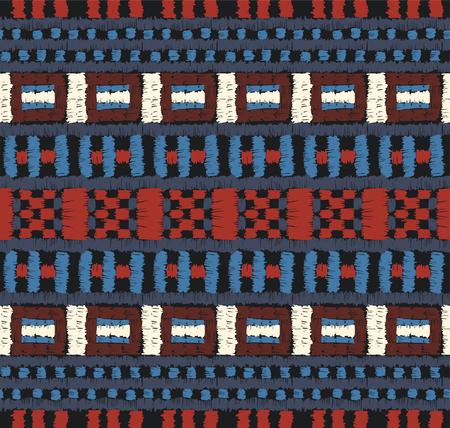 Stammesvektorverzierung. Nahtloses afrikanisches Muster. Ethnischer Teppich mit Chevrons. Aztekischer Stil. Geometrisches Mosaik auf der Fliese, Majolika. Altes Interieur. Moderner Teppich. Geodruck auf Textil. Kente Stoff.