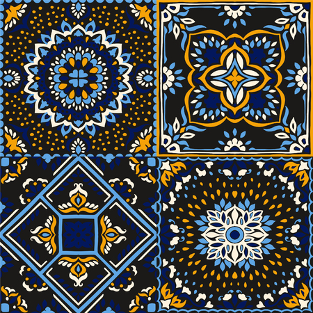 Talavera pattern.  Indian patchwork. Azulejos portugal. Turkish ornament. Moroccan tile mosaic. Ceramic tableware, folk print. Spanish pottery. Ethnic background. Mediterranean seamless  wallpaper. Banco de Imagens - 107085269
