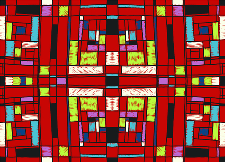 Geometric background in Mondrian grid style.  Pop art pattern. Ornament with abstract mosaic squares. Modern embroidery. Ethnic African print. Colorful figures of Memphis. Traditional striped vector