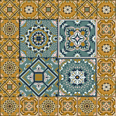 Talavera pattern.  Indian patchwork. Azulejos portugal. Turkish ornament. Moroccan tile mosaic. Ceramic tableware, folk print. Spanish pottery. Ethnic background. Mediterranean seamless  wallpaper. Banco de Imagens - 107129026