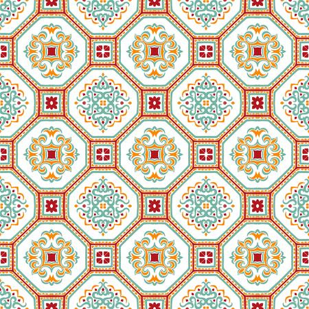 Talavera pattern.  Azulejos portugal. Turkish ornament. Moroccan tile mosaic. Spanish porcelain. Ceramic tableware, folk print. Spanish pottery. Ethnic background. Mediterranean seamless  wallpaper. Banco de Imagens - 107242764