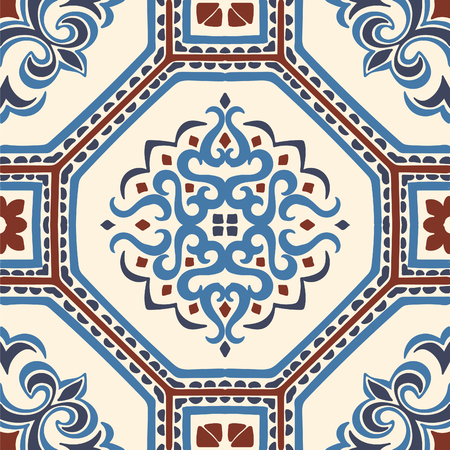 Talavera pattern.  Azulejos portugal. Turkish ornament. Moroccan tile mosaic. Spanish porcelain. Ceramic tableware, folk print. Spanish pottery. Ethnic background. Mediterranean seamless  wallpaper. Banco de Imagens - 107253808