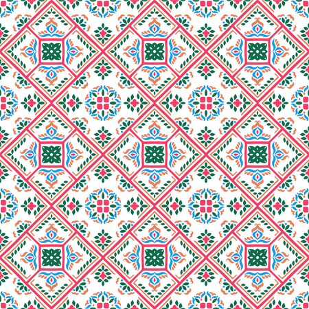 Talavera pattern.  Azulejos portugal. Turkish ornament. Moroccan tile mosaic. Spanish porcelain. Ceramic tableware, folk print. Spanish pottery. Ethnic background. Mediterranean seamless  wallpaper. Banco de Imagens - 107778940