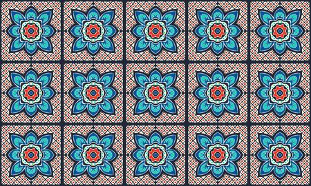 Talavera pattern.  Indian patchwork. Azulejos portugal. Turkish ornament. Moroccan tile mosaic. Ceramic tableware, folk print. Spanish pottery. Ethnic background. Mediterranean seamless  wallpaper. Banco de Imagens - 108203834
