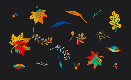 Autumn leaves in cartoon style. A cute background. Seasonal banner. September fall. October party. November  sale. Decorative border. Halloween. Maple branch.  Vector illustration.