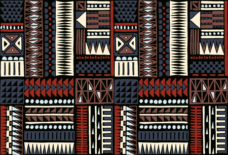 Tribal  ornament. Seamless African pattern. Ethnic carpet with chevrons. Aztec style. Geometric mosaic on the tile, majolica. Ancient interior. Modern rug. Geo print on textile. Kente Cloth.