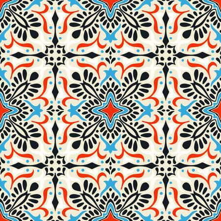 Talavera pattern.  Indian patchwork. Azulejos portugal. Turkish ornament. Moroccan tile mosaic. Ceramic tableware, folk print. Spanish pottery. Ethnic background. Mediterranean seamless  wallpaper. Banco de Imagens - 108729764