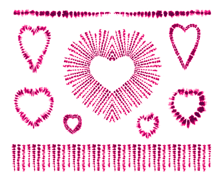 Red heart tie dye. Valentines day. Art brushes. Print in Shibori style. Ribbon ornament, ribbon, border. Ethnic jewelry. Fashion embroidery for women's clothing. Elements of batik on fabric. Fringe.