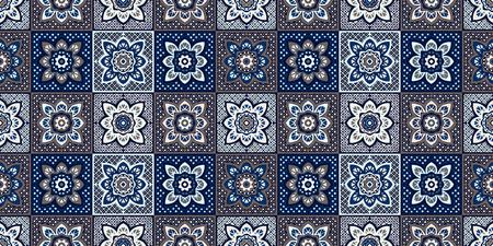 Talavera pattern.  Indian patchwork. Azulejos portugal. Turkish ornament. Moroccan tile mosaic. Ceramic tableware, folk print. Spanish pottery. Ethnic background. Mediterranean seamless  wallpaper. Vettoriali