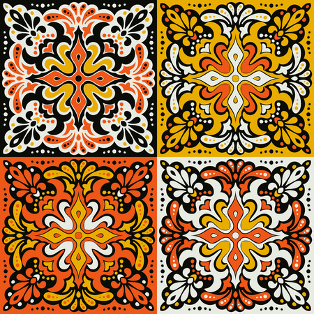 Talavera pattern. Azulejos portugal. Turkish ornament. Moroccan tile mosaic. Spanish porcelain. Ceramic tableware, folk print. Spanish pottery. Ethnic background. Mediterranean seamless wallpaper.