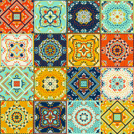 Talavera pattern.  Indian patchwork. Azulejos portugal. Turkish ornament. Moroccan tile mosaic. Ceramic tableware, folk print. Spanish pottery. Ethnic background. Mediterranean seamless  wallpaper. 向量圖像