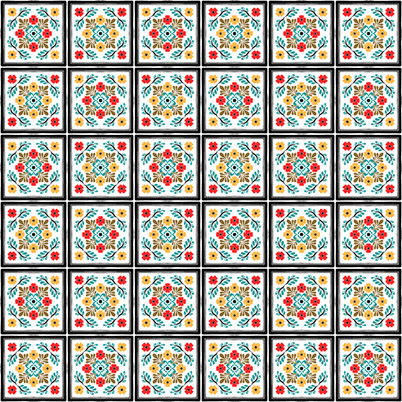 Talavera pattern. Azulejos portugal. Turkish ornament. Moroccan tile mosaic. Spanish porcelain. Ceramic tableware, folk print. Spanish pottery. Ethnic background. Mediterranean seamless wallpaper. Vettoriali
