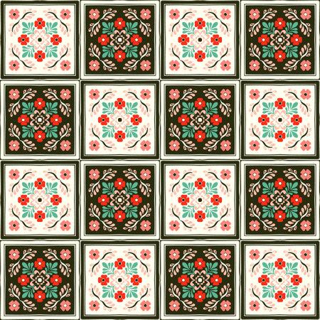 Talavera pattern. Indian patchwork. Azulejos Portugal. Turkish ornament. Moroccan tile mosaic. Ceramic tableware, folk print. Spanish pottery. Ethnic background. Mediterranean seamless wallpaper. 일러스트