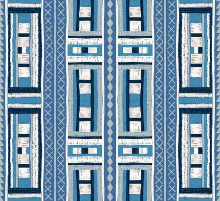 Ethnic strip. Tribal vector ornament. Seamless African pattern. Carpet with chevrons. Aztec style. Geometric mosaic on the tile. Ancient interior. Modern rug. Geo print on textile. Kente Cloth Illustration