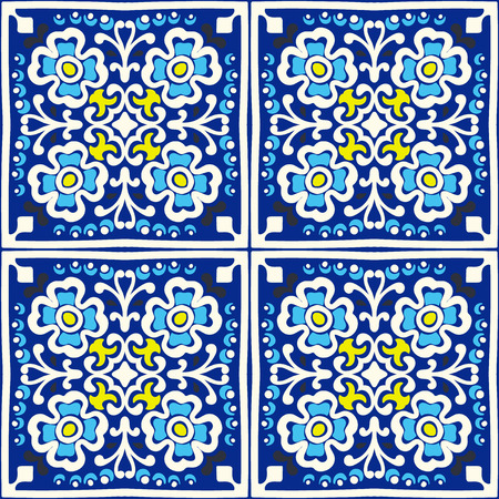 Talavera pattern.  Indian patchwork. Azulejos portugal. Turkish ornament. Moroccan tile mosaic. Ceramic tableware, folk print. Spanish pottery. Ethnic background. Mediterranean seamless  wallpaper. Çizim