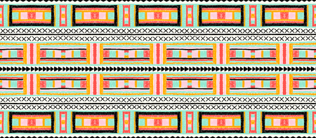 Ethnic strip. Tribal vector ornament. Seamless African pattern. Carpet with chevrons. Aztec style. Geometric mosaic on the tile. Ancient interior. Modern rug. Geo print on textile. Kente Cloth Ilustrace