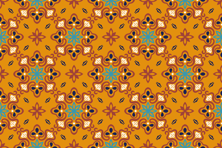 Talavera pattern. Azulejos portugal. Turkish ornament. Moroccan tile mosaic. Spanish porcelain. Ceramic tableware, folk print. Spanish pottery. Ethnic background. Mediterranean seamless wallpaper. Standard-Bild - 114017783