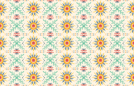 Seamless floral pattern. Stylized doodle flowers. Spanish ethnic embroidery. Folk ornament. Solar sign. Mediterranean print. Indian Oriental or Turkish textiles.  Boho wallpaper. Hipster  art. Illustration