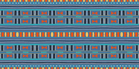 Ethnic strip. Tribal vector ornament. Seamless African pattern. Carpet with chevrons. Aztec style. Geometric mosaic on the tile. Ancient interior. Modern rug. Geo print on textile. Kente Cloth Vettoriali
