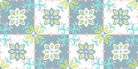 Ethnic pattern. Mediterranean seamless wallpaper. Portuguese Azulejo. Turkish ornament, Moroccan mosaic. Spanish porcelain. Ceramic dishes, folk print. Tile design. Indian patchwork.