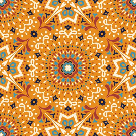 Talavera pattern. Azulejos portugal. Turkish ornament. Moroccan tile mosaic. Spanish porcelain. Ceramic tableware, folk print. Asian pottery. Ethnic background. Mediterranean  wallpaper. Art Deco. Banco de Imagens - 114681017